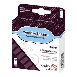 3L Scrapbook Adhesives Mounting Squares - Clear Half Size Permanent (500pc)