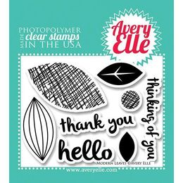 "Avery Elle Clear Stamp Set 4""X3"" - Modern Leaves AE1322"