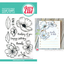 Avery Elle Clear Stamp - Hand Drawn Florals AE1812