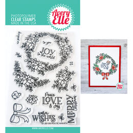 Avery Elle Clear Stamp - Rustic Wreath AE2028