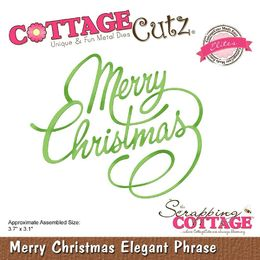 "CottageCutz Dies - Merry Christmas Elegant Phrase 3.7""X3.1"" (Elites) CCE520"