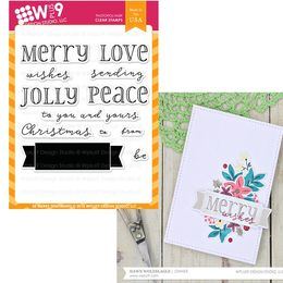 WPlus9 Design Stamps - Be Merry Sentiments CL-WP9BMS