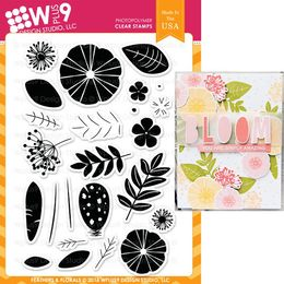 WPlus9 Design Stamps - FEATHERS & FLORALS CL-WP9FFL