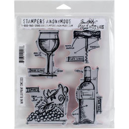 "Tim Holtz Cling Stamps 7""X8.5"" - Wine Blueprint CMS333"