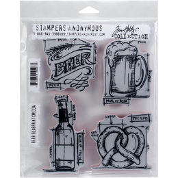 "Tim Holtz Cling Stamps 7""X8.5"" - Beer Blueprint CMS334"