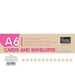 Couture Creations - A6 240 gsm Cards and 120 gsm Envelopes Set - WHITE - Pack of 50
