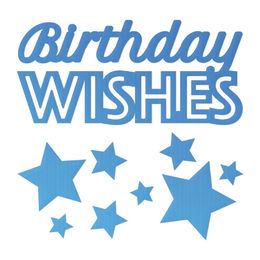 Couture Creations Mini Dies - Birthday Wishes Sentiment with stars (9pc) CO726088