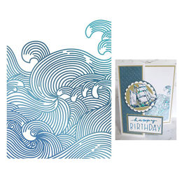 Couture Creations - Seaside & Me Collection Hot Foil Stamps - Swirling Seas (1pc) CO726187