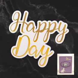 Couture Creations Mini Cut, Foil & Emboss - Dazzlia - Happy Day Sentiment (1pc) CO726741