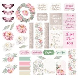 Couture Creations Ephemera Set - Peaceful Peonies Diecut - 39pc Assorted