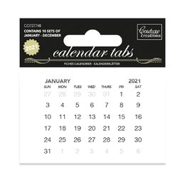 PREORDER Couture Creations Dies - Calendar Tabs 2021 (10 sets of 12 months)