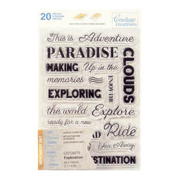 Couture Creations Stamp Set - Exploration Sentiment (20pc) 80 x 116mm