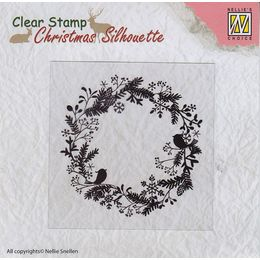 Nellie Snellen Christmas Silhouette Clear Stamps - Wreath CSIL003