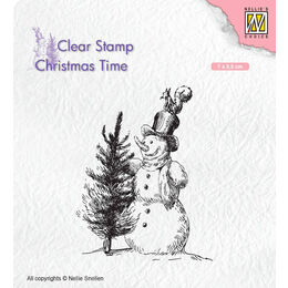 Nellie Snellen Christmas Time Clear Stamps - Snowman With Tree CT029