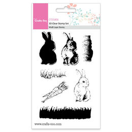 Crafts Too 3D Clear Stamp Set - Multi Layer Bunny (7pcs) CT25806