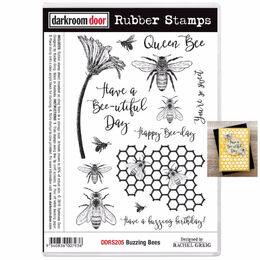 Darkroom Door Rubber Stamp Set - Buzzing Bees DDRS205