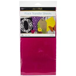 "Deco Foil Flock Transfer Sheets 6""X12"" 4/Pkg - Think Pink"