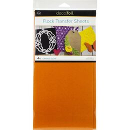 "Deco Foil Flock Transfer Sheets 6""X12"" 4/Pkg - Orange Glow"
