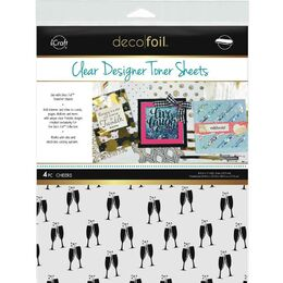 "iCraft Deco Foil Clear Toner Sheets 8.5""X11"" 4/Pkg - Cheers"