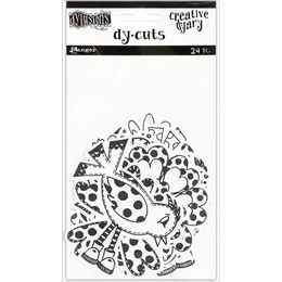 Dyan Reaveley's Dylusions Creative Dyary Die Cuts - Black & White Birds & Flowers DYE58595
