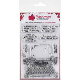 "Woodware Clear Stamps 4""x6"" - Vintage Typewriter"