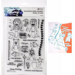 "Simon Hurley Create Cling Stamps 6""X9"" - Mythical Mermaids HUR68921"