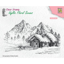 Nellie Snellen Clear Stamps Idyllic Floral Scene - Snowy Landscape With Cottage IFS015