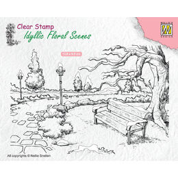 Nellie Snellen Clear Stamps Idyllic Floral Scene - Wintery Park With Bench IFS016
