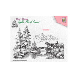 Nellie Snellen Clear Stamps Idyllic Floral Scene - Horse and Cart IFS022