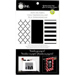 "Fabric Editions - Iron On Fabric Sheets 8""X9"" 3/Pkg - Black/White IOSHEET5"