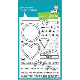 Lawn Fawn - Clear Stamps - Pizza My Heart LF1018