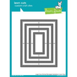 Lawn Fawn - Lawn Cuts Dies - Large Cross Stitched Rectangle Stackables LF1178