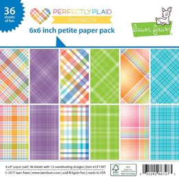 Lawn Fawn Petite Paper Pack - Perfectly Plaid Rainbow LF1347