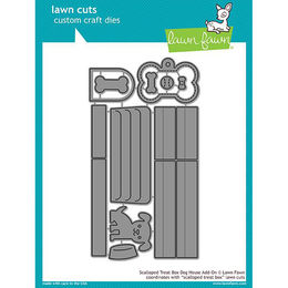 Lawn Fawn - Lawn Cuts Dies - Scalloped Treat Box Dog House Add-On LF1704