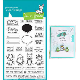 PREORDER - Lawn Fawn - Clear Stamps - Say What? Christmas Critters LF1778