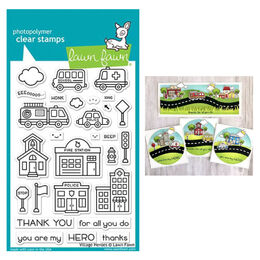 PREORDER - Lawn Fawn - Clear Stamps - Village Heroes LF2327
