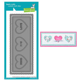 Lawn Fawn - Lawn Cuts Dies - Scalloped Slimline With Hearts: Landscape LF2476