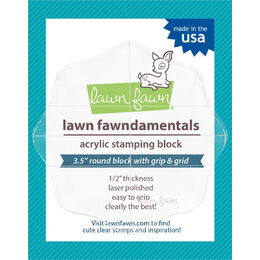 "Lawn Fawn Acrylic Block - 3.5"" Round Grip Block With Grid LF498"