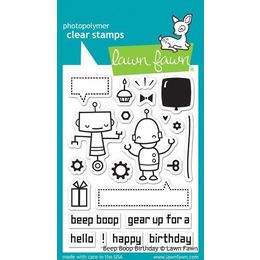 Lawn Fawn - Clear Stamps - Beep Boop Birthday LF676