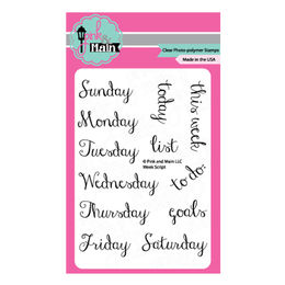 Pink & Main Clear Stamps - Week Script PM0139