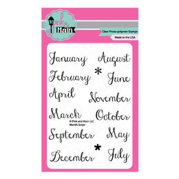 Pink & Main Clear Stamps - Month Script PM0140