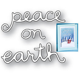 Poppystamps Dies - PEACE ON EARTH DOODLE SCRIPT 2089