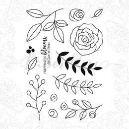 Paper Rose Clear Stamp - Ella's Garden Scribble Leaves 17972