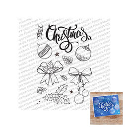 "Paper Rose Clear Stamp - Sketchy Christmas Ornaments (4x6"") 18342"