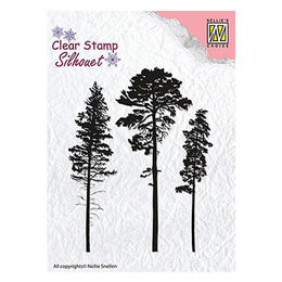 Nellie Snellen Silhouette Clear Stamps - 3 Pinetrees SIL037