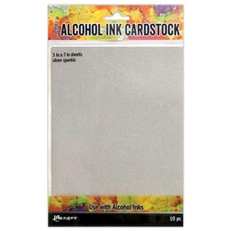 Tim Holtz Alcohol Ink Cardstock - Silver Sparkle 5x7 (10 Sheets) TAC65500