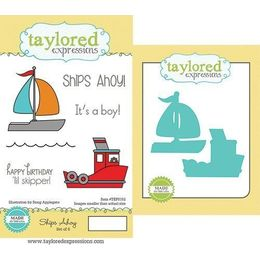 Taylored Expressions Stamps - Ships Ahoy with Coordinating Dies - TEPS152