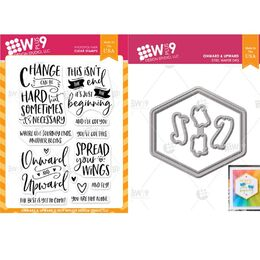 WPlus9 Design Dies & Stamps Set - Onward & Upward