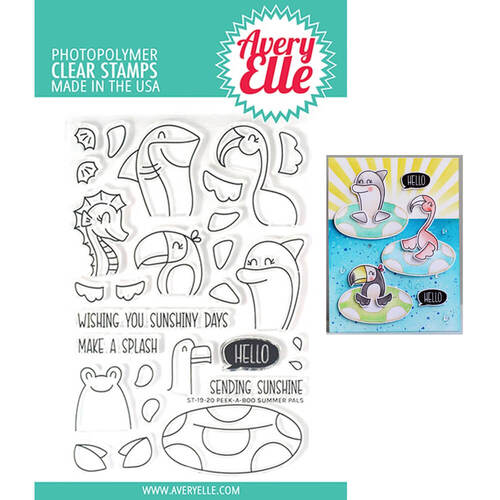 Avery Elle Clear Stamp - Peek-A-Boo Summer Pals AE1920