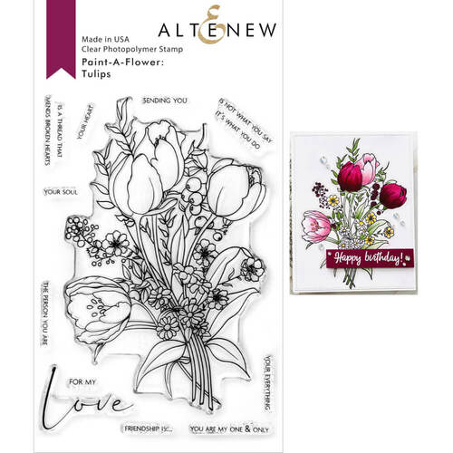 Altenew Clear Photopolymer Stamps - Paint-A-Flower: Tulips Outline ALT4665